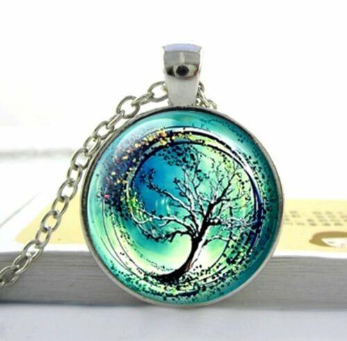 Halskette Glas Anhänger Regenbogen Baum Erde  Universum Kette Herz Natur Schmuck